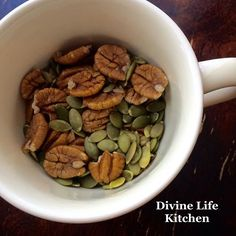 Pumpkin seeds and pecans for breakfast this morning.   I like to put them in my coffee cup and carry them around with me while I walk around the garden. Breakfast on the go!