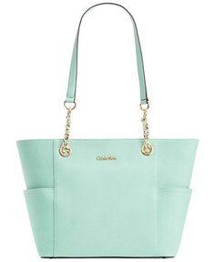 Calvin Klein Saffiano Leather Tote - Handbags & Accessories - Macy's