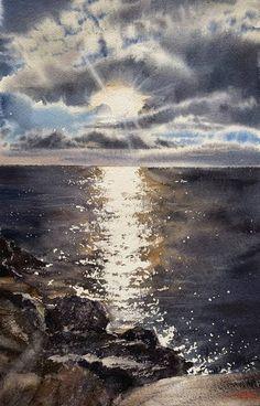 Watercolor Clouds, Watercolor Sunset, Watercolor Landscape Paintings, Seascape Paintings, Scenery Paintings, Realism Art, Watercolor Illustration, Nature, Saatchi Art