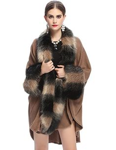 Mely Shine Womens Wrap Shawl Cape with Luxury Faux Fox Fur Collar One Size Khaki *** Be sure to check out this awesome product.