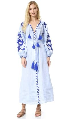 MARCH11 Maxi Dress with Flower Pixel Embroidery
