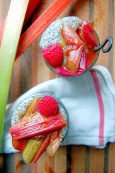Vanilla Chia Seed Pudding with Roasted Rhubarb