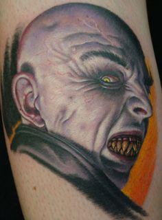 A color horror tattoo piece of Nosferatu by artist Shane O'Neill. | Intenze ink