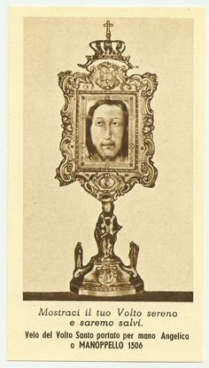 HOLY FACE JESUS CHRIST Holy Card Veronica Veil brought to Manoppello 1506 Italy