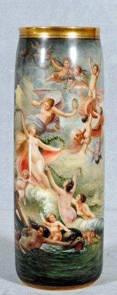 "ANTIQUE BELLEEK PORCELAIN VASE ~ PAINTED ALL AROUND SCENE AFTER ""THE BIRTH OF VENUS"" BY CASPER-PHILIPP"