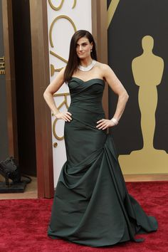 Frankly, my dear, this is a MESS. Dreadful color, dreadful style - looks as if you slept in it. Next time, just say NO.  Idina Menzel Singer and actress Idina Menzel wore a figure-hugging black Vera Wang gown