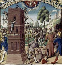 Saint Augustin, De la Cité de Dieu Construction de la tour de Babel Traduction de Raoul de Presles France, Paris, XVe siècle