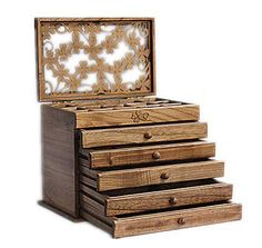 [Visit to Buy] Clover real wood jewelry box retro style large multilayer marriage holiday gift makeup organizer storage box 32*20.5*25CM #Advertisement