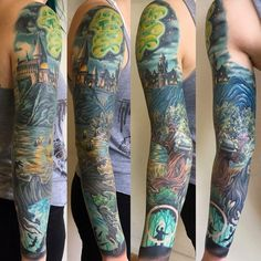 Harry Potter sleeve by Thom Grayson at Optic Nerve in Portland OR Japanese tattoo sleeve Feminine Tattoo Sleeves, Feminine Tattoos, Trendy Tattoos, Tattoos For Women, Tattoos For Guys, Cool Tattoos, Tattoos Pics, Tattoo Images, Tatoos