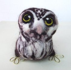 Needlefelted Owl Tengmalm's Owl In Chocolate Brown and White