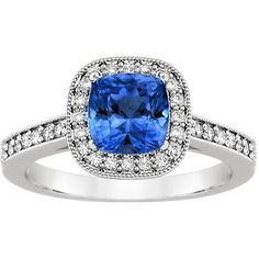 18K White Gold Sapphire Felicity Diamond Ring (25.245 DKK) ❤ liked on Polyvore featuring jewelry, rings, 18k white gold ring, antique diamond rings, 18k diamond ring, antique sapphire rings and antique jewellery