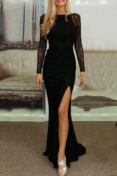 Elegant Slash Neck Long Sleeve Lace Splicing High Slit Women's Black Dress Maxi Dresses | RoseGal.com Mobile