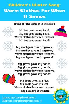 Winter clothing song to sing with children. Lyrics by Storytime Sprout. Winter clothing song to sing with children. Lyrics by Storytime Sprout. Kindergarten Songs, Preschool Music, Music Activities, Preschool Lessons, Winter Songs For Preschool, Preschool Activities, Winter Songs For Kids, Winter Activities, Winter Fun