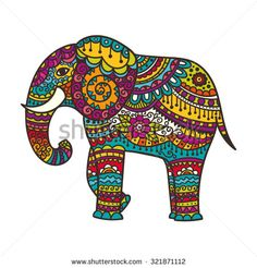 Decorative elephant illustration. Indian theme with ornaments. Vector isolated illustration.