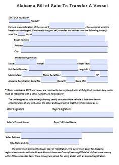 Printable Sample Bill Of Sale Alabama Form