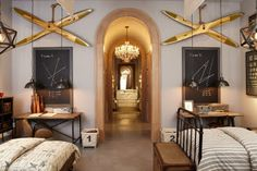 Cool boys room. Great idea to mark laundry hampers