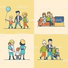 Linear Flat Family watching TV on couch, walking outdoors with balloon or baby in pram vector illustration set. Casual life parenting concept. Lizenzfreies vektor illustration