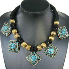 tibetaanse sieraden nieuwe aangekomen 5 hangers sieraden messing ingelegd turquoise ketting gemaakt in india