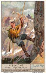 Vintage Alpine Climbing Poster - Rapelling