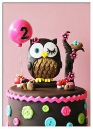 Owl birthday cake - love this but maybe not so dark with the fondant