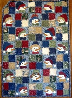 pinterest snowman quilts | Image detail for -This darling snowman rag quilt kit ... | Quilts