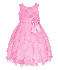 Love this Ice Pink Rosette Ruffle Dress - Girls by American Princess on #zulily! #zulilyfinds