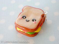 Kawaii sandwich polymer clay charm by LittleJulesCreations on Etsy, $4.50