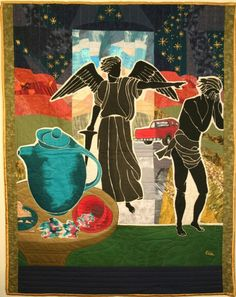 Fabric Painting by Ellie Kreneck- Exiting Eden with Eve Firing up the Pickup