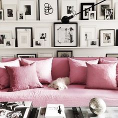 Living Room Luxe. Pink sofa with wall of black and white art. #InteriorDesign by Annika von Holdt. https://instagram.com/p/0LvLfTslIW/