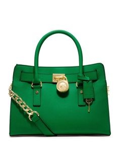 MICHAEL Michael Kors Hamilton Satchel - Palm... Green (if possible with silver lock) or dark dune
