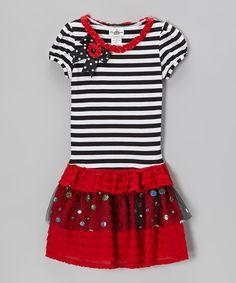 Look what I found on #zulily! Black & Red Stripe Tiered Dress - Girls #zulilyfinds