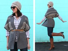 gray gingham + jeans + oversized cardigan + brown belt + brown boots (#What I Wore)