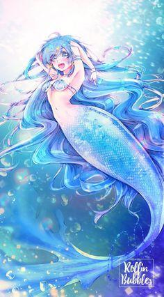 ~ Hanon - Print - Shounen And Trend Manga Siren Anime, Anime Mermaid, Mermaid Man, Siren Mermaid, Mermaid Melody, Sea Creatures Drawing, Oc Manga, Anime Tumblr, Humanoid Creatures