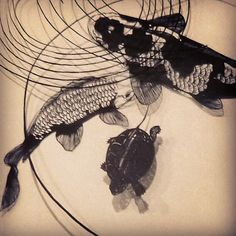 hand cut paper artwork【carps and little turtle】