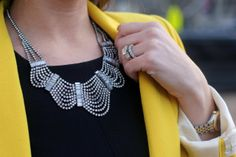 NYC: Black, Yellow and a little Sparkle, yellow blazer, statement necklace, shopdesignspark, crystal necklaces