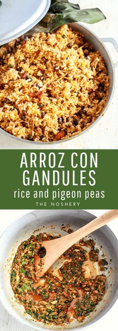 Dec 2017 - Arroz con gandules is a savory rice with pigeon peas. It's traditionally served in Puerto Rico during Christmas but, appreciated year round. Pea Recipes, Side Dish Recipes, Cooking Recipes, Kitchen Recipes, Healthy Recipes, Arroz Con Gandules Puerto Rican Recipe, Pigeon Peas And Rice Recipe, Puerto Rican Dishes, Savory Rice