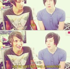 Phil trying to convince Dan in The Super Amazing Project ep. 1 that they should have a hamster mascot.