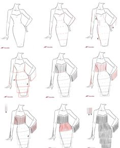 A step by step tutorial on how to draw fringe dress.