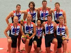 Team GB's Men's Eight crew Alex Partride, James Ford, Tom Ransley, Richard Egington, Mohammed Sbihi, Greg Searle, Matthew Lanridge, Constantine Louloudis and Phelan Hill pose with their bronze medals