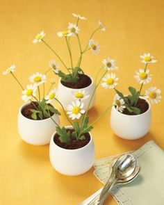 """Pots of butterscotch pudding featured chocolate """"dirt"""" and real chamomile"""