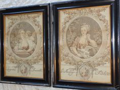 ANTIQUE VICTORIAN 19th CENTURY FRENCH LADY CHERUB CUPID ROSES TAPESTRY FRAME SET