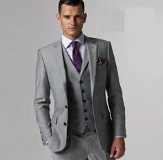 For D.J. but silver tie with purple accents and maybe a symbol, and different design of vest