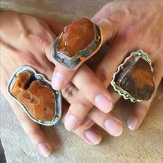 These are amazing statement jewelry rings! These are amazing statement jewelry rings! The post Amber rings. These are amazing statement jewelry rings! 2019 appeared first on Jewelry Diy. Amber Ring, Amber Jewelry, Statement Jewelry, Metal Jewelry, Jewelry Rings, Silver Jewelry, Jewelry Accessories, Silver Rings, Jewelry Design
