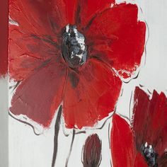 A triptych of brilliant red poppies on a chic black and grey background, painted with rich, bold brushstrokes on canvas on wood create, a cheerful ambience in any room. Painting comes in a set of 3. T