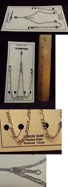 Chains 10326: .925 Sterling Silver~Dickens~Double Albert~Figaro Link Usa Pocket Watch Chain -> BUY IT NOW ONLY: $99.99 on eBay!