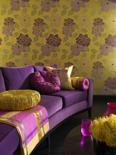 Silk Road fabrics by Lorca - Purple and yellow contrasts distributed by Osborne & Little www.osborneandlittle.com, available from Allium