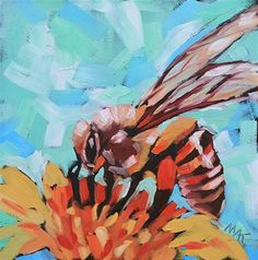 """Daily Paintworks - """"Bee Sweet"""" - Original Fine Art for Sale - © Mary Anne Cary"""