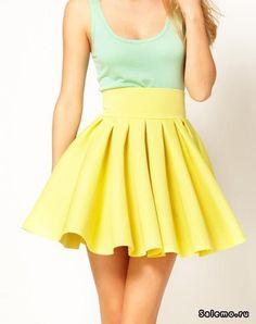 Желтая пышная юбка цены