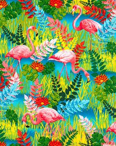 Sew Rousseau - Flamingo Journey - Turquoise - for some strange reason this fabric appeals to me...