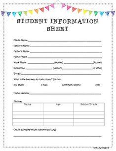 Student Information Sheet by The Second Grade Scoop Preschool First Day, First Day Of School Activities, School Admission Form, Student Information Sheet, Daycare Forms, Home Daycare, School Admissions, Parent Communication, Meet The Teacher